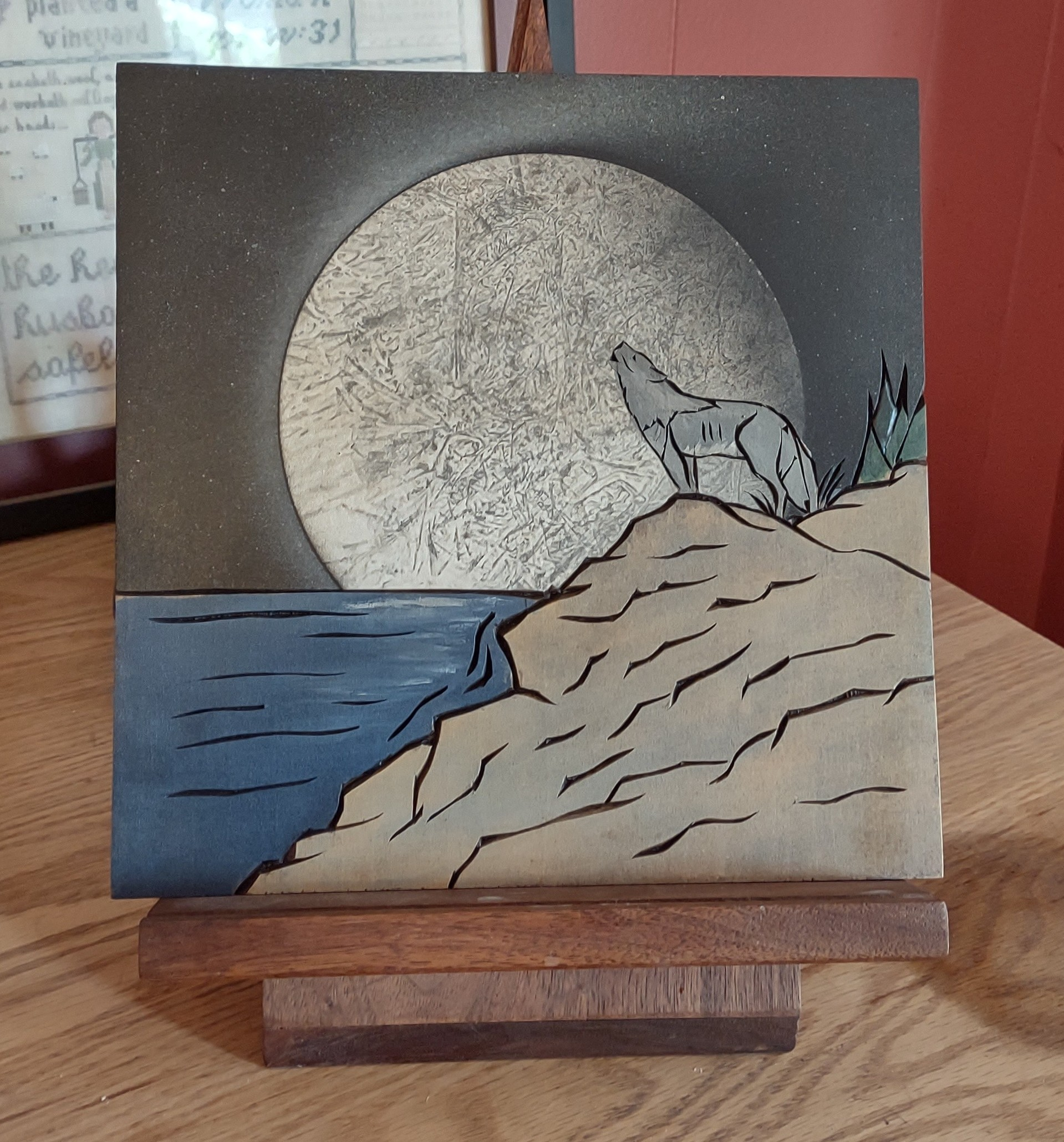 Wolf Chip Carving